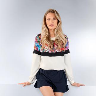 cavalli CLASS Blusen-Sweater Bluse oder Sweatshirt? Farbe oder Schwarz/Weiß? Flower-Power oder Clean-Chic? Alles! Gekonnt gemixt von Roberto Cavalli.