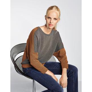 Pinko Lurex-Sweater In der kupfer- und khaki-farbenen Melange wird der Lurex-Sweater ungewöhnlich dezent. Und sogar tagestauglich.