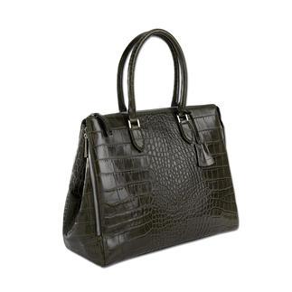 Die perfekte Tasche zu femininen Business-Outfits. Luxuriöse Kroko-Prägung auf glänzend poliertem Nappaleder.