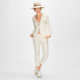 Pinko Safari-Anzug-Hose oder -Blazer Unser Anzug-Favorit zum Safari-Trend ist aus luftigem Leinen-Mix, in der Trendfarbe Offwhite und erfreulich erschwinglich.