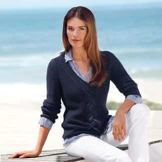 Der Zopfpullover aus seltener Pima-Cotton im zeitgemäßen Look. Pullover in legerer Kastenform sind up to date. Doch die wenigsten sind aus Pima-Cotton. Von Kero Design/Peru.
