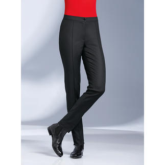 Die Stretchhose mit seltenem Tupfen-Dessin: Bequem wie Yoga-Pants. Aber viel eleganter. Elastischer Materialmix. Permanente Bügelfalte. Schlanker, figurgünstiger Schnitt.