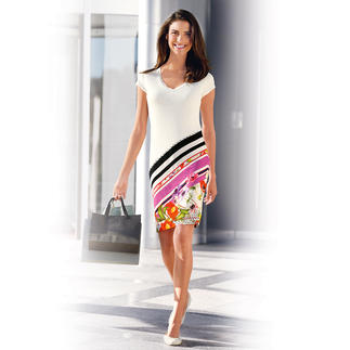 Das Designerkleid für jeden Tag: Egg-Shape-Blumenkleid von cavalli CLASS. Bequem elastisch. Figurfreundlich kaschierend. Knitterarm.