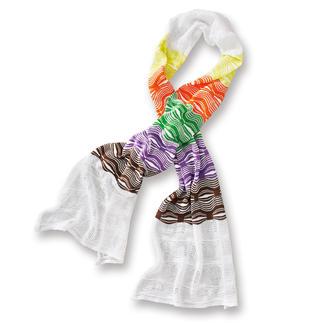 Der Multicolor-Strickschal von M Missoni: Vielseitiger Eyecatcher zu fast allen Looks. Missoni-Accessoire mit dem unverkennbaren Wellenmuster. In Orange, Gelb, Grün, Lila, Braun ist er niemals out.