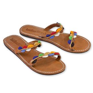 Die Laidbacklondon Perlen-Flats: traditionell handgemachtes afrikanisches Kunsthandwerk. Der Schuh-Trend des Sommers - durch die aktuelle Ethno-Mode sind solche Sandalen jetzt mehr denn je im Trend.
