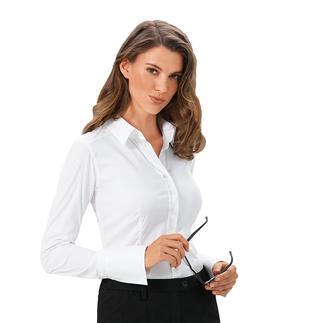 Die van Laack Basic-Bluse mit 3 verschiedenen Cup-Größen: Perfekter Sitz an Brust und Taille. Der Blusenspezialist kombiniert die Weite im Brustbereich mit den normalen Konfektionsgrößen.
