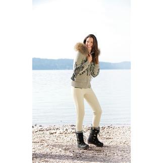 Der Funktions-Strickblouson mit Steghose von Goldbergh: Stylische Sportswear und sportliche Streetwear. Perfektionierter Mix: Der Blouson hat außen Strick und innen Funktion, die schlanke Hose ist aus Soft-Shell.