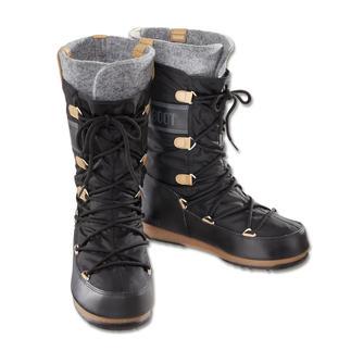 Der warme, wasserdichte, rutschfeste Moon Boot®. Jetzt in citytauglicher Form und zeitgemäßem Design. Optisch nah am Original. Aber mit alltagstauglich schmalerem Leisten.