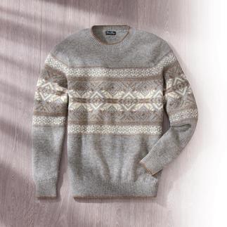 Der Norweger-Pullover aus kostbarem Baby-Alpaka. Eine Rarität. Flaumweich, leicht, indoor- und Sakko-tauglich.