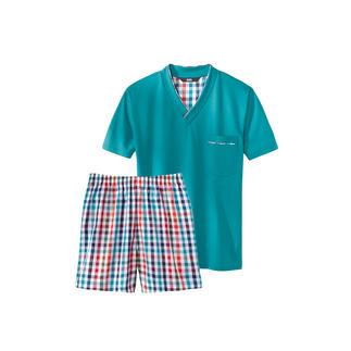 Der Lieblings-Pyjama zum kleinen Preis. Made in Germany von einem leistungsfähigen Spezialisten aus Sachsen. Weiches Jersey-Shirt in frischem Türkis. Bunt karierte Shorts aus feinem Baumwoll-Popeline.