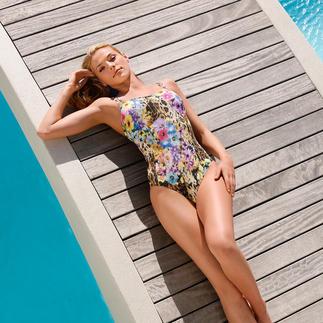 Dieser Badeanzug wirkt wie eine gute Sonnencreme. Aus SunSelect®. Mit außergewöhnlichem Leo- und Blumen-Print Der spezielle SunSelect®-Jersey lässt die zur sanften Bräunung notwendigen UV-Strahlen durch.