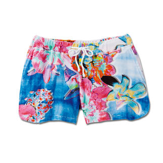 """Die Frottee-Shorts """"Flowers"""" von Who's Who. Viel interessanter als übliche Unifarben. Farbenfroher Flower-Print macht diese Frottee-Shorts zum Mode-Highlight."""