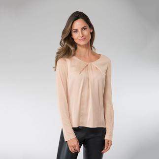 Die edle Shirt-Bluse, die Eleganz und Komfort perfekt vereint. Raffinierter Mix aus Jersey und Seiden-Satin. Von Strenesse.