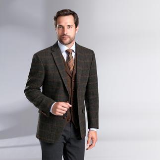 """Der original Harris Tweed von den Äußeren Hebriden – aber viel feiner und leichter als üblich. Sakko und Weste in handgewebter """"New Superfine""""-Qualität. Von Carl Gross."""
