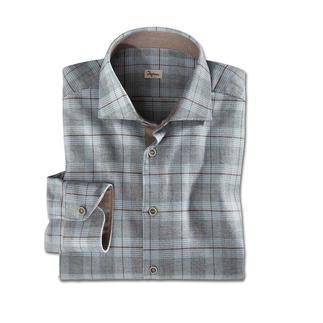 Das außergewöhnlich feine Flanell-Hemd, selten stilvoll kariert. Fein genug fürs Business. Gemütlich genug für die Freizeit.