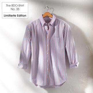 Das gestreifte BDO-Shirt No. 35 aus luftig feinem Oxfordgewebe Es ist großzügig gerfertigt, nichts engt Sie ein.
