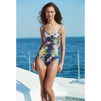 Dieser Badeanzug wirkt wie eine gute Sonnencreme. Aus sonnendurchlässigem SunSelect® – mit außergewöhnlichen Blumen-Aquarellen.