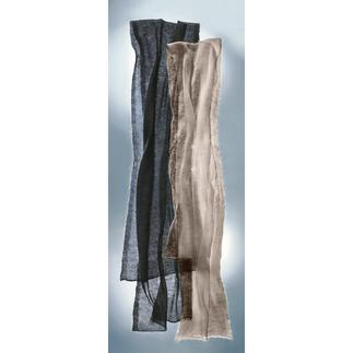 Ihr wohl feinster und zartester Schal wiegt nur 20 Gramm, ist weich und wärmt sogar. Der Luftschal ist mehr wert als ein neues Schmuckstück. Von Carbery/Irland auf Handstrickmaschinen gefertigt.