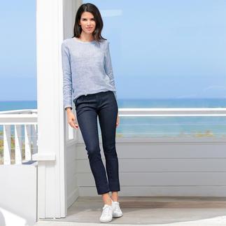 Der sportlich-elegante Stil des italienischen Labels true nyc®. Zeitlos modern: Blusen-Shirt und Stretch-Jeans.