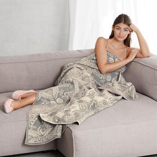 Die selten luxuriöse, selten voluminöse Jacquard-Decke. Aus edlem Kaschmir mit Merinowolle, dreilagig gewebt.