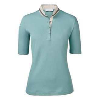 Das feminine Polo-Shirt von Gran Sasso, Italien. Glitzer-Borte. Leinen-Stehkragen. Taillierter Schnitt.