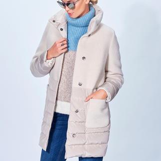 Seventy Leichtdaunen-Kurzmantel Trend-Duo Leichtdaune + Wolle modisch perfektioniert: A-Linie, lang, matte Optik, Modefarbe Offwhite. Von Seventy.