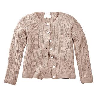 Die stilvolle Antwort auf x-beliebige Zopfmuster: traditionsreicher Aran-Strick aus England. Damen-Cardigan von Peregrine - exklusiv für Fashion Classics.
