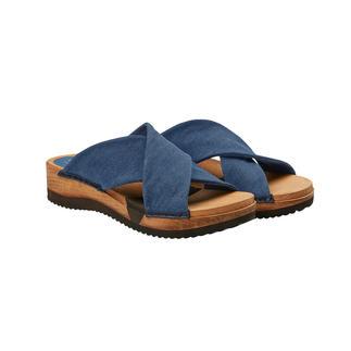 """Die modische Holz-Pantolette mit komfortabler Flex-Sohle und weichen Cross-Bändern. """"Hygge"""" für Ihre Füße. Skandinavisches Wohlfühl-Design von Sanita®, Dänemark."""