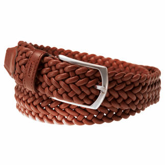 Der genial bequeme Ledergürtel: stufenlos verstellbar und sogar elastisch. Perfekt für Freizeit- und Business-Outfits. Handgeflochten in Spanien. Von Possum®.
