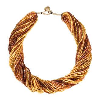 """Die Nepal-Kette: von Hand gefertigt, aus unzähligen, echten Glasperlchen. Tausend """"Beads"""" stehlen kostbarstem Schmuck die Schau. Aus 30 - dicht an dicht gefädelten - Reihen.."""