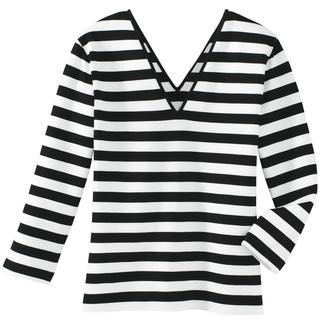 Das Zauber-Shirt: zauberhaft weich durch 95 % Viskose. Zauberhaft vielseitig durch schwarz-weiße Ringel. Und: es zaubert eine gute Figur - dank 5 % Elasthan und dem perfekten Schnitt. Nur richtig in Schwarz/Weiß.