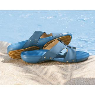 Die Badepantoletten von Fashy® – ideal für Schwimmbad, Strand… Viel schöner und viel leichter als übliche Badelatschen. Wiegen zusammen kaum mehr als 200 g.