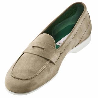 Der Barfuß-Mokassin - Frottee-Futter macht diesen Mokassin zum idealen Barfuß-Schuh. Von Fratelli Rossetti. Weich, saugstark, rutschfest. Und färbt nicht ab. Aus handschuhweichem Veloursleder.