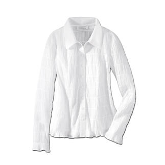Die wohl unkomplizierteste weiße Bluse, die Sie je hatten. Crash: Bequem, elastisch und immer in Bestform. Dank des Crash-Gewebes knittert sie nicht, ist so gut wie bügelfrei und dadurch immer einsatzbereit.