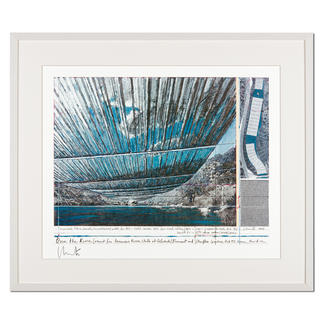 Christo – Over The Arkansas River, Project U Christos umstrittenes Projekt. Handsignierte Granolithografie. Die letzten 25 von 100 Exemplaren – exklusiv im Pro-Idee Kunstformat. Maße: gerahmt 79 x 67 cm