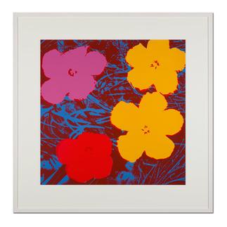 Andy Warhol – Flowers rot Sunday B. Morning Siebdruck auf 1,52 mm starkem Museumskarton. Maße: gerahmt 112 x 112 cm