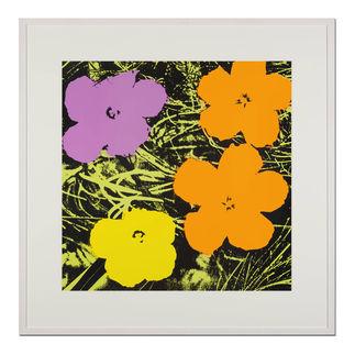 Andy Warhol – Flowers gelb Sunday B. Morning Siebdruck auf 1,52 mm starkem Museumskarton. Maße: gerahmt 112 x 112 cm