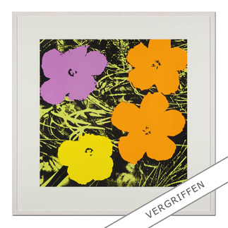 "Andy Warhol: ""Flowers gelb"" Sunday B. Morning Siebdruck auf 1,52 mm starkem Museumskarton."