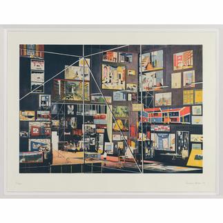 """Thomas Huber: """"Das Kabinett der Bilder"""" 83 Werke Thomas Huber`s in einem einzigen Bild. Signierte Originalgrafik – inkl. Werkverzeichnis als zusätzliche Grafik."""