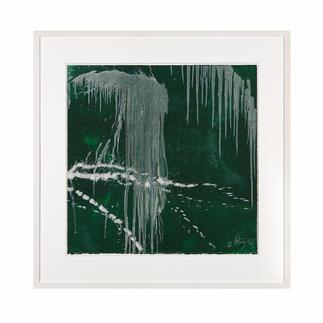 """Pat Steir: """"Wasserfall grün"""" Pat Steirs berühmte Wasserfälle: Ausgestellt in Museen. Und jetzt als hochwertige Lithografie bei Ihnen zu Hause.  35 Exemplare."""