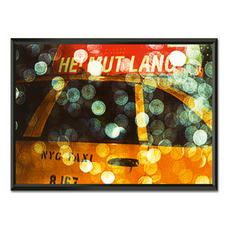 """Philipp Hofmann: """"New York Taxi in the rain"""" Einzigartige Fotokunst – dank eigens entwickelter Technik von Philipp Hofmann. Ausdrucksstarke Präsentation in einem beleuchteten, kabellosen Objektrahmen. 20 Exemplare."""