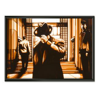 """Max Zorn: """"It has been a while"""" Max Zorn: Unfassbar, dass seine Originale ausschließlich aus Klebeband bestehen. Ausdrucksstarke Reproduktion auf Acrylglas – einzigartig präsentiert in einem beleuchteten, kabellosen Objektrahmen. Erste Edition mit 20 Exemplaren."""