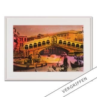 """Helle Jetzig: """"Rialtobrücke P1"""" Helle Jetzigs Venedig: Einzigartige Technik aus Malerei, Siebdruck und Schwarz-Weiß-Fotografie. Erste Papier-Edition, die nachträglich mit einem Siebdruck versehen wurde. 40 Exemplare."""