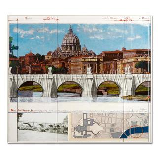 """Christo: """"Ponte St'Angelo, Wrapped – Project for Rome, 1969-2011"""" Ein echtes Sammlerstück: Christos handübermalte und mit Stoff collagierte Collage. Geschützt hinter Acrylglas. Die letzten 8 Exemplare von """"Ponte St'Angelo""""."""