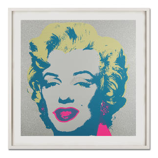"Andy Warhol – Marilyn Diamond Dust Andy Warhols Marilyn Monroe – mit glitzerndem ""Diamond Dust"" veredelt. Siebdrucke aus der bedeutenden Sunday B. Morning Edition. Maße: gerahmt 112 x 112 cm"