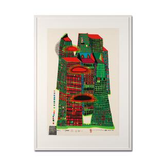 Friedensreich Hundertwasser – Good Morning City HWG41 Einer der letzten noch erhältlichen handsignierten Siebdrucke von Hundertwasser. Im seltenen Hochformat. Maße: gerahmt 78 x 109 cm