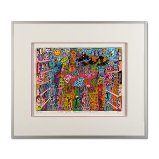 James Rizzi – Look – There are Cows in the City, 2000 Handsignierte 3D-Papierskulpturen des verstorbenen James Rizzi. Maße: gerahmt 70 x 60 cm