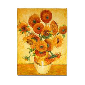 Zhao Xiaoyong malt Vincent van Gogh – 15 Sonnenblumen in einer Vase Vincent van Goghs Sonnenblumen: Die perfekte Kunstkopie – 100 % von Hand in Öl gemalt.
