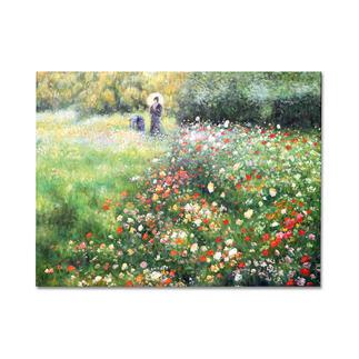 """Zhong Lirong malt Renoir – Frau mit Sonnenschirm Renoirs """"Frau mit Sonnenschirm"""": Die perfekte Kunstkopie – 100 % von Hand in Öl gemalt. Maße: 65 x 54,5 cm"""