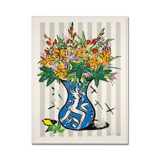 """Stefan Szczesny: """"Flowers on Stripes"""" Stefan Szczesnys großformatigste Grafik-Edition. Im Format 120 x 160 cm. 60 Exemplare."""